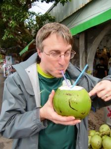 Jeff and coconut, Cape Eluanbi